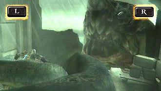 God of War: Ghost of Sparta - Kratos (left) battles Scylla. The L and R buttons at the top left and right indicate a quick time event (QTE): quickly alternating between the buttons will eventually release Kratos from Scylla's grasp.