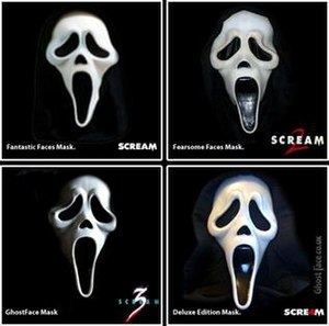 Ghostface (Scream) - The Ghostface masks as seen in (top left-bottom right) Scream, Scream 2, Scream 3 and Scream 4.