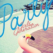 "The cover of ""Party"" includes an inflatable pink flamingo, with an oceanside swimming pool in the background."