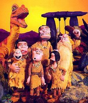 Gogs - Cast of Gogs, left to right; Therizinosaur (recurring character), Girj (baby); Ogla (Mother), Ogo (son), Oglas (father), Igi (daughter), Gogas (grandfather)
