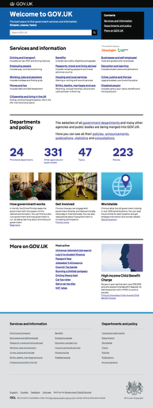 Gov.uk - Image: Gov.uk screenshot