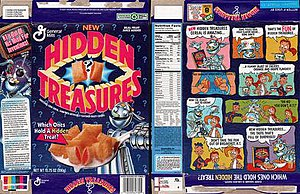 Hidden Treasures (cereal) - Box art from the 1993 launch