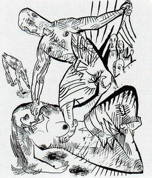 Murderer, the Hope of Women - Sketch by Oskar Kokoschka of a scene from the play.