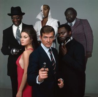Live and Let Die (film) - Promotional image of the cast of Live and Let Die. From left: Julius Harris, Jane Seymour, Geoffrey Holder, Roger Moore, Yaphet Kotto and Earl Jolly Brown