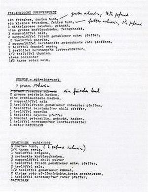 Literaturwurst - Literaturwurst recipes, published in Gesammelte Werke vol 16
