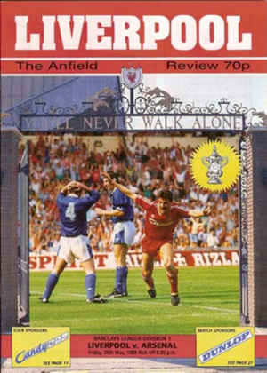 Liverpool F.C. 0–2 Arsenal F.C. (26 May 1989) - Image: Liverpool Arsenal programme cover 89