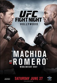 A poster or logo for UFC Fight Night: Machida vs. Romero.