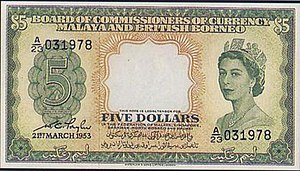 Malaya and British Borneo dollar - Image: Malaya&British Borneo 5Dollars front