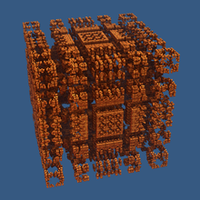 A three-dimensional Mandelbox fractal of scale 3.