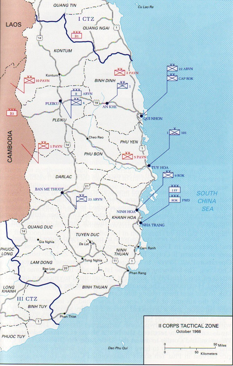 Map of the II Corps Tactical Zone in the Central Highlands of South Vietnam (as used during the Battle of Dak To, 1967)