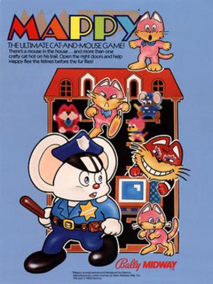 Mappy - U.S. arcade flyer for Mappy.