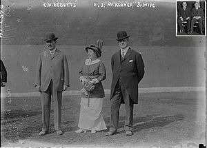 Ed McKeever (baseball owner) - Left to right: Charles Ebbetts, Mrs McKeever, Ed McKeever