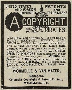 "Copyright Act of 1790 - Newspaper advert: ""United States and Foreign Copyright. Patents and Trade-Marks A Copyright will protect you from Pirates. And make you a fortune."""