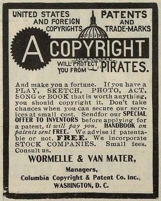 Copyright law of the United States - Late 19th-century newspaper advertisement for copyright registration services