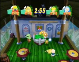 "Nickelodeon Party Blast - ""Food Fight"". One of the mini-games in Nickelodeon Party Blast."