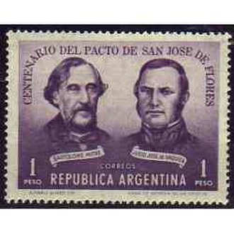 Pact of San José de Flores - Stamp commemorating the centennial of the 1859 Pact of San José de Flores