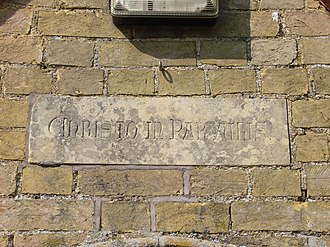 """Pertenhall - Inscription above Village Hall entrance - """"Christo in Parvulis"""" meaning """"For Christ in the dear little children"""""""