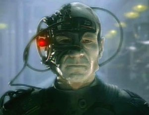 Patrick Stewart as Locutus, the assimilated Je...