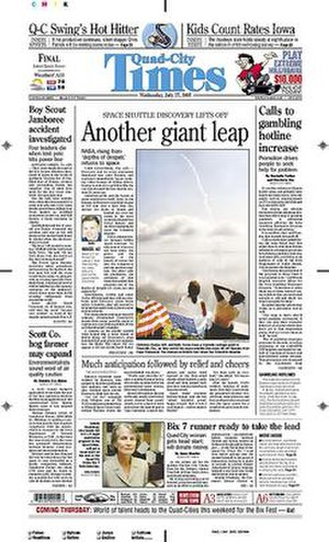 Quad-City Times - The July 27, 2005 front page of the Quad-City Times