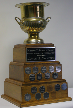 William T. Ruddock Trophy - OHF Championship, competed for by NOJHL champions since 1994. Won in 1997, 2000, 2002, 2003, and 2006.