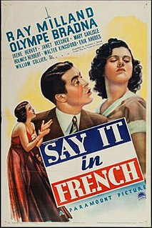 <i>Say It in French</i> 1938 film by Andrew L. Stone