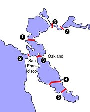 (1) Richmond-San Rafael Bridge, (2) Golden Gate Bridge, (3) San Francisco-Oakland Bay Bridge, (4) San Mateo-Hayward Bridge, (5) Dumbarton Bridge, (6) Carquinez Bridge, (7) Benicia-Martinez Bridge