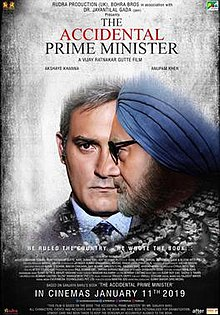 The poster features Akshay Khanna as Sanjay Baru and Anupam Kher as Manmohan Singh and the title appears at bottom.