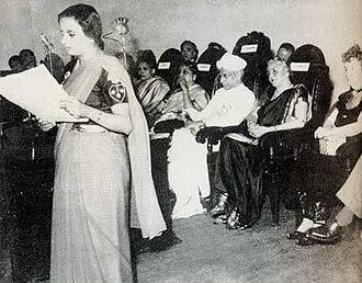 Avabai Bomanji Wadia - Avabai Wadia speaking at the Third International Conference 1952. Sarvepalli Radhakrishnan, Dhanvanthi Rama Rau and Margaret Sanger in attendance