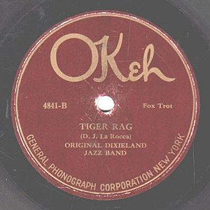 "Nick LaRocca - 1923 release of ""Tiger Rag"" by the Original Dixieland Jazz Band as an Okeh 78 single, 4841B."