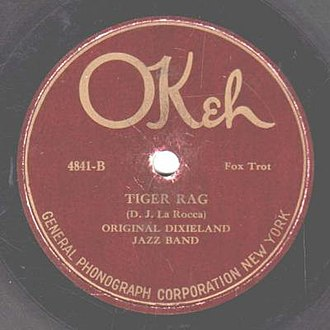 "Nick LaRocca - 1923 release of ""Tiger Rag"" by the Original Dixieland Jazz Band as an Okeh 78 single, 4841B."