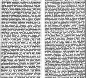 Harcourt interpolation - Part of column 4, page 7 of The Times for 23 January 1882: First edition (left), replacement edition (right).