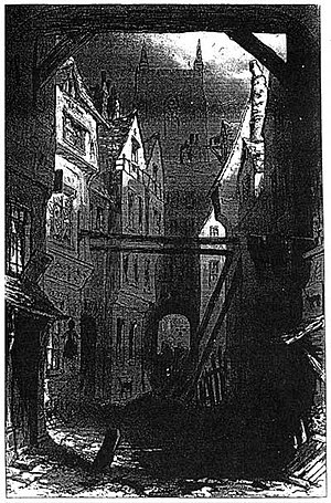 Urban Gothic - An illustration from Charles Dickens' Bleak House of Tom All Alones, the urban slum credited as a major influence on the development of the genre