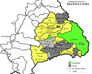 Prince of Transylvania - Administrative division of Transylvania in the early 16th century