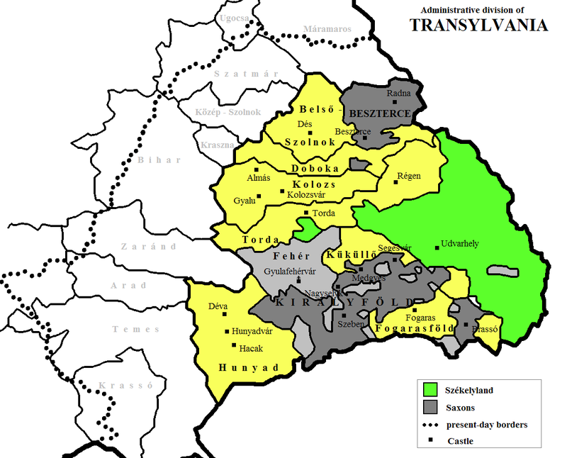 Administrative division of Transylvania in the early 16th century