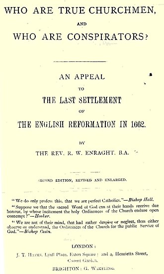 "Richard Enraght - The 1870 title page of Reverend Richard Enraght's ""Who are True Churchmen, Who are Conspirators?"" which opposed the campaign of the Church Association"