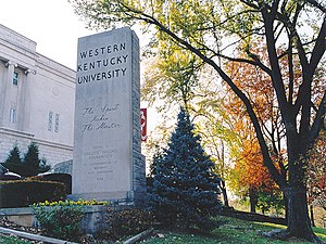 Western Kentucky University - The Spirit Makes the Master, WKU's motto, is on the pylon at the entrance to the university.