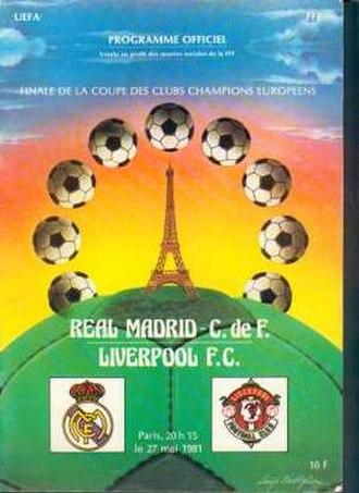 1981 European Cup Final - Match programme cover