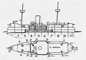 ARA Almirante Brown (1880) - Line-drawing of Almirante Brown