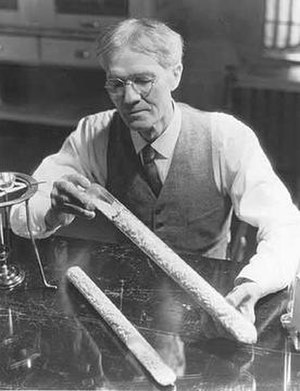 Alexander P. Anderson - Anderson with the tubes he used to make puffed grains, 1933