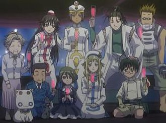 "Aria (manga) - Supporting cast as they appear in the anime: from left to right, in front President Aria, Mr. Postman, President Hime, Ai, Alicia, and Al; in back ""Grandma"" Akino, Akira, Athena, Akatsuki, and Woody"
