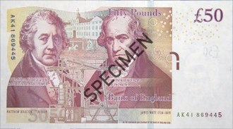 Bank of England £50 note - Image: Bank of England £50 reverse