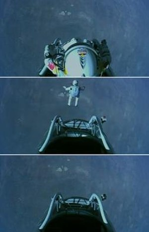 Red Bull Stratos - At 12:08 MDT and at an altitude of 39 kilometres, Baumgartner jumped from the capsule. These images span the first five seconds of the jump.