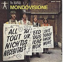 Italian picture sleeve, showing the Beatles in advance promotion for the Our World broadcast