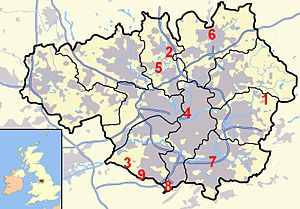 Image of Greater Manchester with the general position of castles. 1.  Buckton Castle 2.  Bury Castle 3.  Dunham Castle 4.  Manchester Castle 5.  Radcliffe Tower 6.  Rochdale Castle 7.  Stockport Castle 8.  Ullerwood Castle 9.  Watch Hill Castle Castles in Greater Manchester.jpg