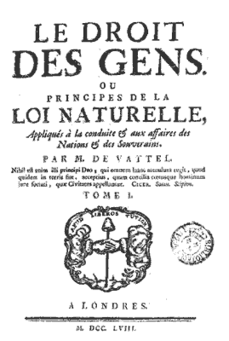 Emer de Vattel - The cover page from The Law of Nations