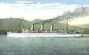 RMS Empress of Asia - Image: Empress of Asia postcard