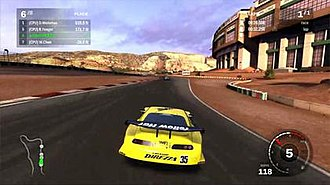 Forza Motorsport 3 - Forza Motorsport 3 features real world cars that race on both real and fictional courses. Here, the Super GT Yellow Hat Toyota Supra races at the fictional Sedona Park Raceway.