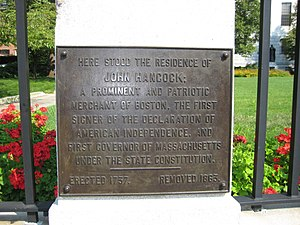Hancock Manor - Memorial plaque.