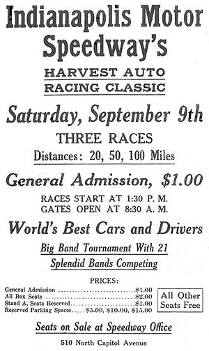 Indianapolis Motor Speedway race results - Advertisement for the Indianapolis Motor Speedway's 1916 Harvest Auto Racing Classic event