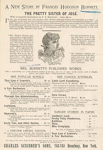 Frances Hodgson Burnett - Advertisement of Burnett's works